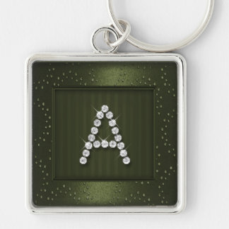 Olive Green Shimmer and Sparkle with Monogram Keychain