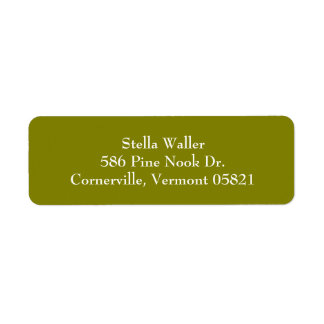 Olive Green Simple Plain Return Address Labels