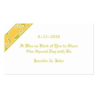Olive Green, Solar Power, Damask Wedding Favor Business Cards