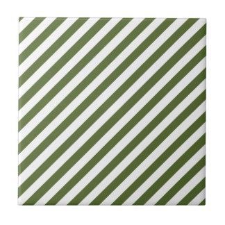 Olive Green Solid Color & White Stripes Tile