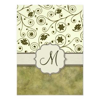 Olive Green Spiral Vine Floral Card