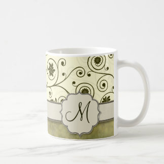 Olive Green Spiral Vine Floral Coffee Mug