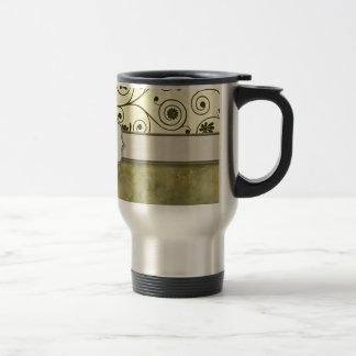 Olive Green Spiral Vine Floral Travel Mug