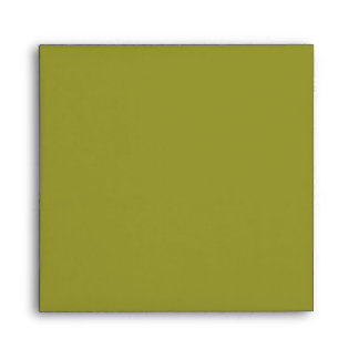 Olive Green Square Scrollwork Monogram Envelopes