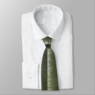 Olive green striped pattern modern wet paint neck tie