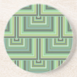 Olive green stripes square scales pattern coaster