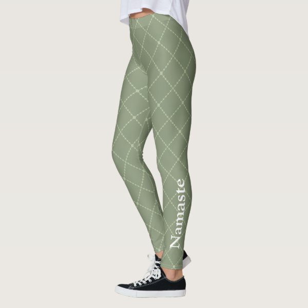 Olive green stylised diamond shape with Namaste Leggings