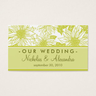 Olive Green Sunflowers Wedding Website Card