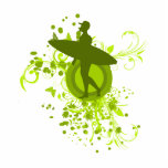Olive Green Surfer Silhouette Cut Outs