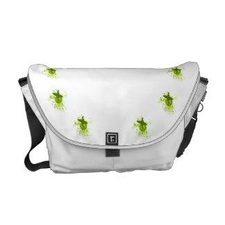 Olive Green Surfer Silhouette Messenger Bag