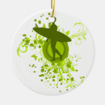 Olive Green Surfer Silhouette Christmas Tree Ornaments