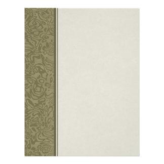 Olive Green Swirl Pattern Binder Paper Letterhead
