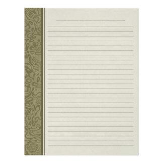 Olive Green Swirl Pattern Lined Binder Paper Letterhead Template