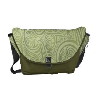 Olive Green Swirls Rickshaw Medium Messenger Bag