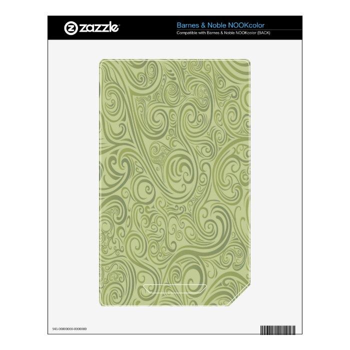 Olive Green Swirls Skin For NOOK Color