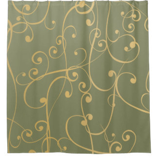 Olive Green Tan And Cream Swirls Shower Curtain