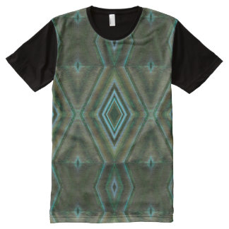 Olive green teal shapes abstract All-Over-Print shirt