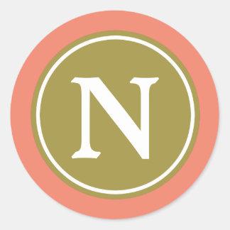 Olive Green Terra Cotta and White Monogram Classic Round Sticker