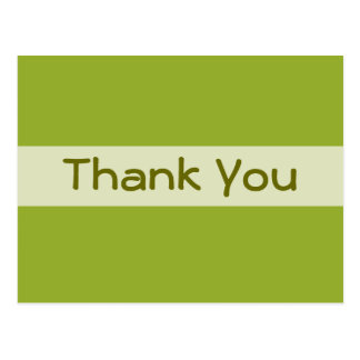Olive Green Thank You Postcard