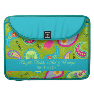 Olive Green Turquoise Blue Modern Paisley Pattern MacBook Pro Sleeve