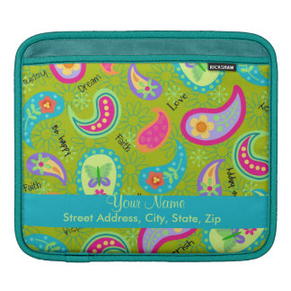Olive Green Turquoise Modern Paisley Graphic iPad Sleeve