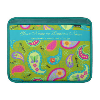 Olive Green Turquoise Modern Paisley Graphic MacBook Sleeve
