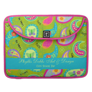 Olive Green Turquoise Modern Paisley Graphic Sleeves For MacBook Pro
