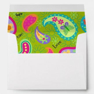 Olive Green & Turquoise Modern Paisley Pattern Envelopes