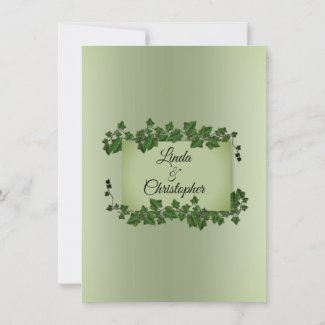 Olive Green Vines Wedding Invitation