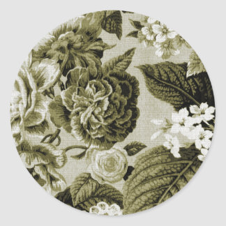 Olive Green Vintage Floral Toile No.1 Classic Round Sticker