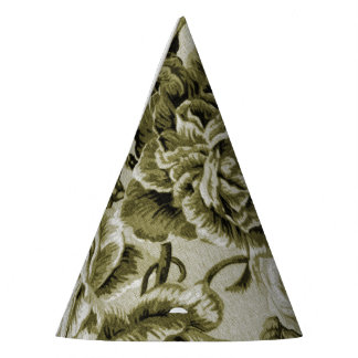 Olive Green Vintage Floral Toile No.1 Party Hat