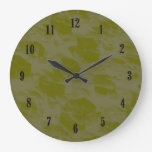 Olive Green Wall Clock with Black Numbers