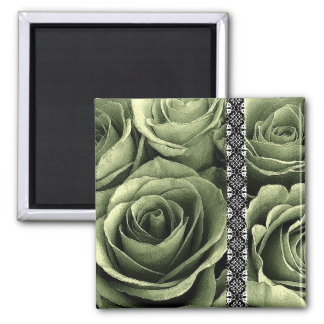 OLIVE GREEN Wedding Rose Bouquet with Lace Fridge Magnet