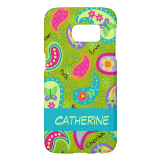 Olive Green Whimsy Paisley Name Personalized Samsung Galaxy S7 Case