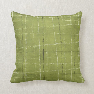 Olive green, white, & black plaid pattern throw pillow