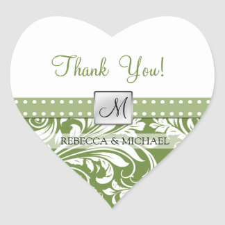 Olive Green & White floral damask Thank You! Heart Sticker