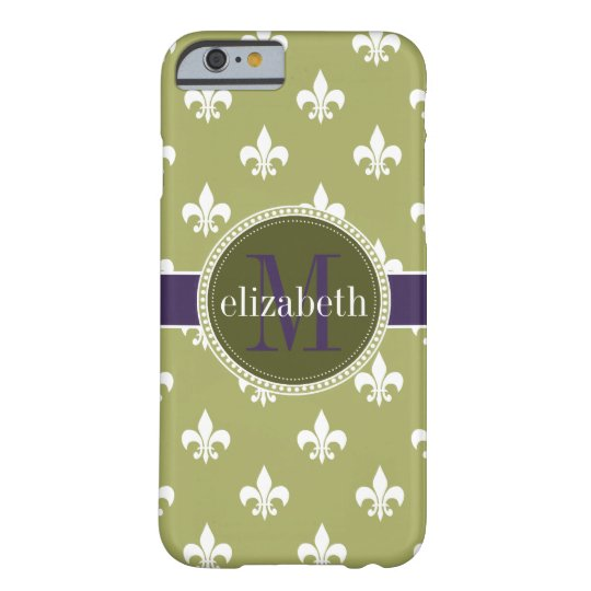 Olive Green White Purple Fleur de Lis Monogram Barely There iPhone 6 Case