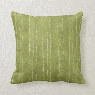 Olive green & white stripe pattern throw pillow