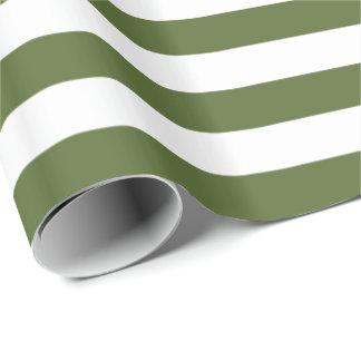 Olive Green/White Stripe Wrapping Paper