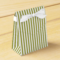 Olive green, white striped pattern custom wedding favor box