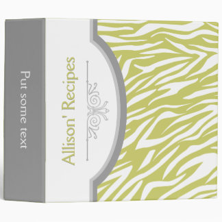 Olive green white zebra print with frame recipe binder