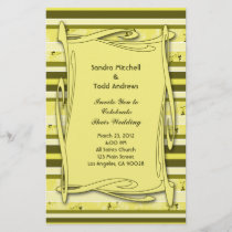 Olive Green Yellow  Striped Wedding