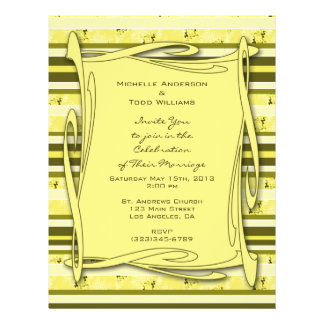 Olive Green Yellow  Striped Wedding Flyer