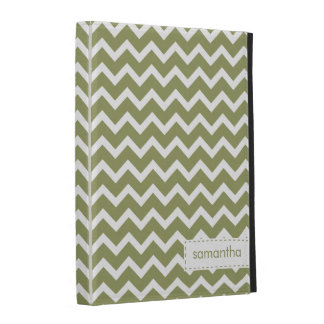 Olive Green Zig Zag Chevrons Pattern iPad Folio Cover