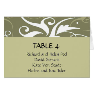 Olive grey brocade wedding place seating chart card