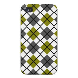 Olive, Grey, White and Black Argyle iPhone 4 Case