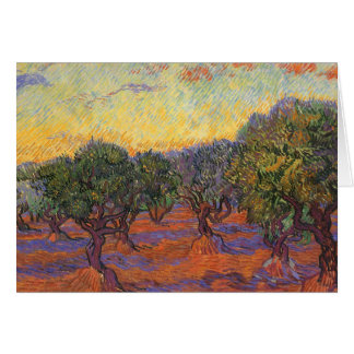 Olive Grove, Orange Sky by Vincent van Gogh Card