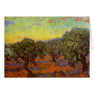 Olive Grove Orange Sky by Vincent van Gogh Card