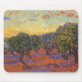 Olive Grove, Orange Sky by Vincent van Gogh Mouse Pad