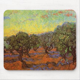 Olive Grove Orange Sky by Vincent van Gogh Mousepads